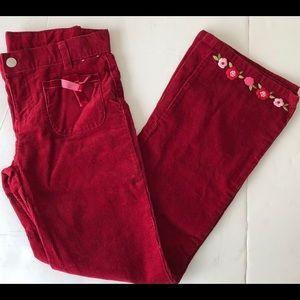 Girls Maroon Cord Pants GYMBOREE - Size 10 -